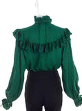 Saint Laurent Emerald Paisley Print Ruffle and Bow Blouse