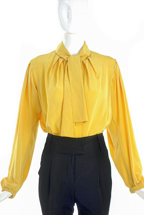 Yves Saint Laurent Rive Gauche Yellow Bow Blouse - BOUTIQUE PURCHASE PRICE