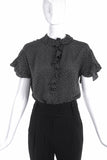Saint Laurent Rive Gauche Black Polka Dot Ruffle Short Sleeves Blouse - BOUTIQUE PURCHASE PRICE