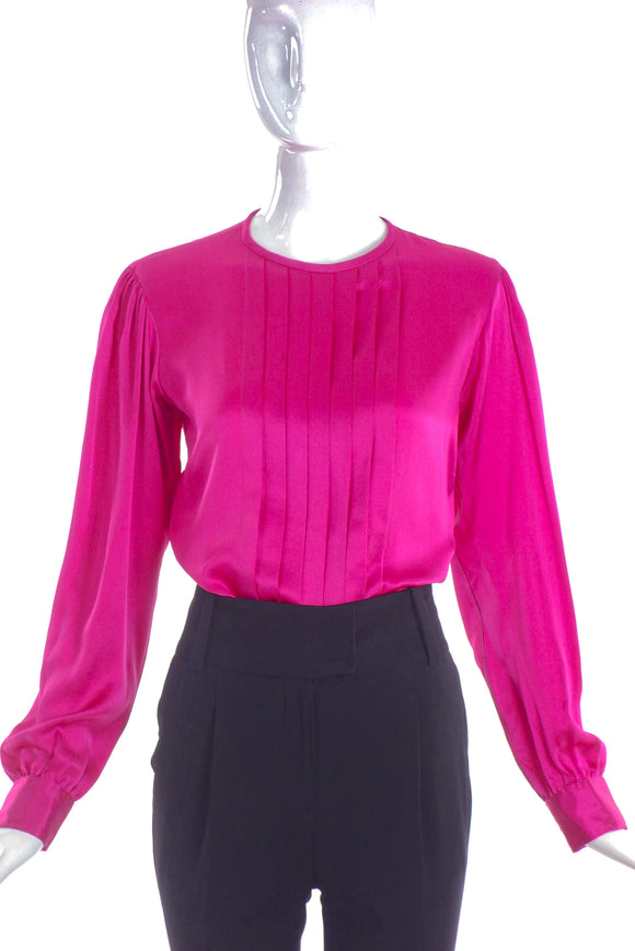 Saint Laurent Fuchisa Silk Front Pleaded Top