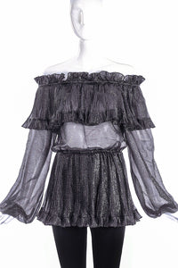Saint Laurent Rive Gauche Metallic Ruffle Off the Shoulder Blouse - BOUTIQUE PURCHASE PRICE