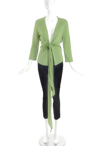 Givenchy Light Green V-Neck Top with Bow