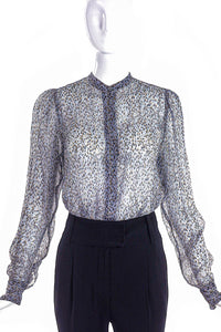 Dries van Noten Sheer Animal print with Lurex Blouse - BOUTIQUE PURCHASE PRICE