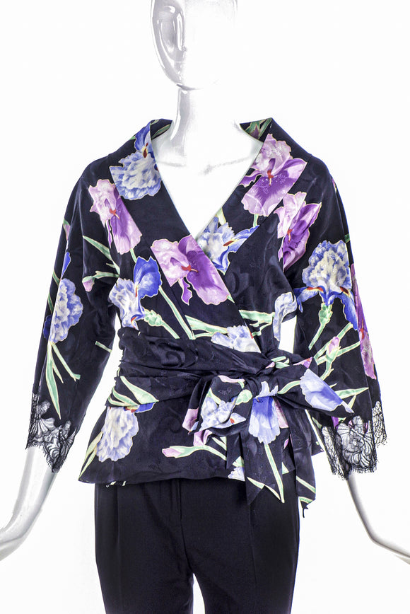 John Galliano Purple and Violet Floral Print Kimono Style Blouse