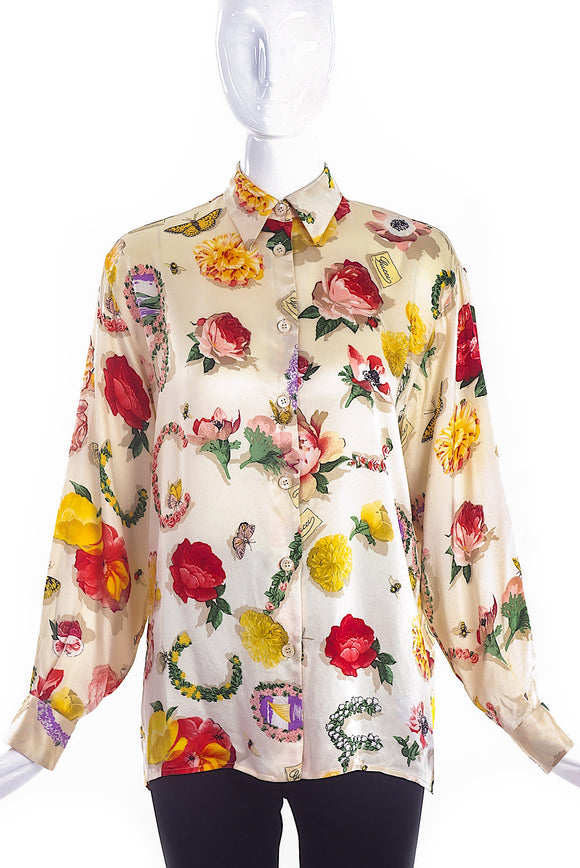 Gucci Vintage Multi Color Floral Silk Button-Up Blouse