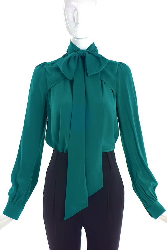 Gucci Emerald Tiel Green Military Neck Bow Button-Up Blouse