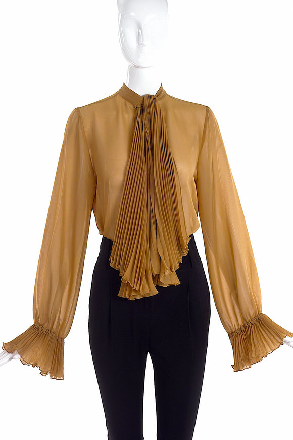 Gucci Camel Sheer Button-Up Blouse with Pleated Tie