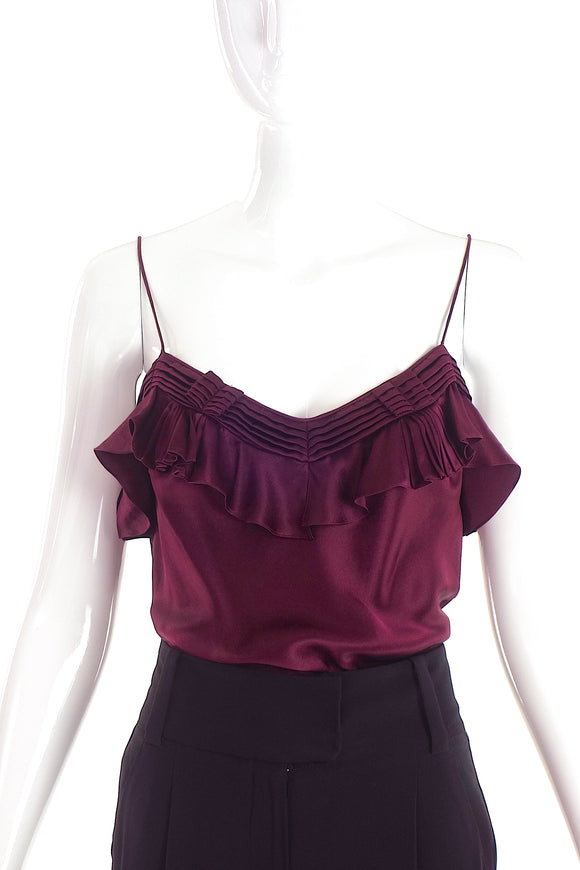 John Galliano Burgundy Ruffle Camisole Top