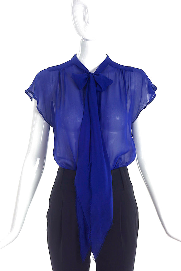Marc Jacobs Cobalt Sheer Button-Up Blouse with Bow Neck Tie