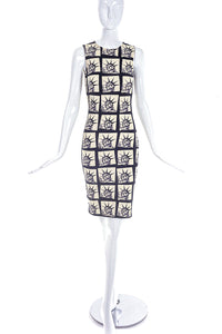 Fausto Puglisi Ivory and Black Lady Liberty Print Fitted Column Dress FW2014 - BOUTIQUE PURCHASE PRICE