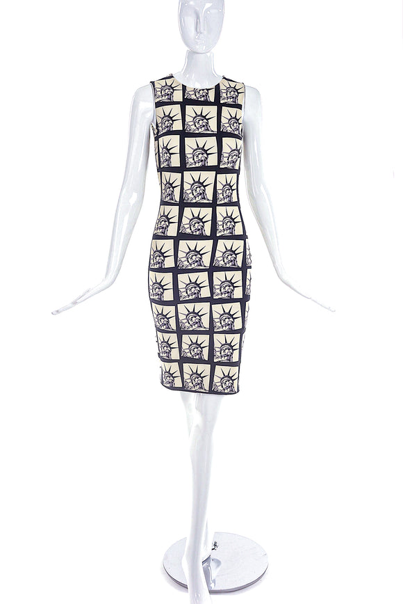 Fausto Puglisi Ivory and Black Lady Liberty Print Fitted Column Dress
