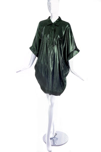Lanvin Metallic Green Cocoon Shirt Dress