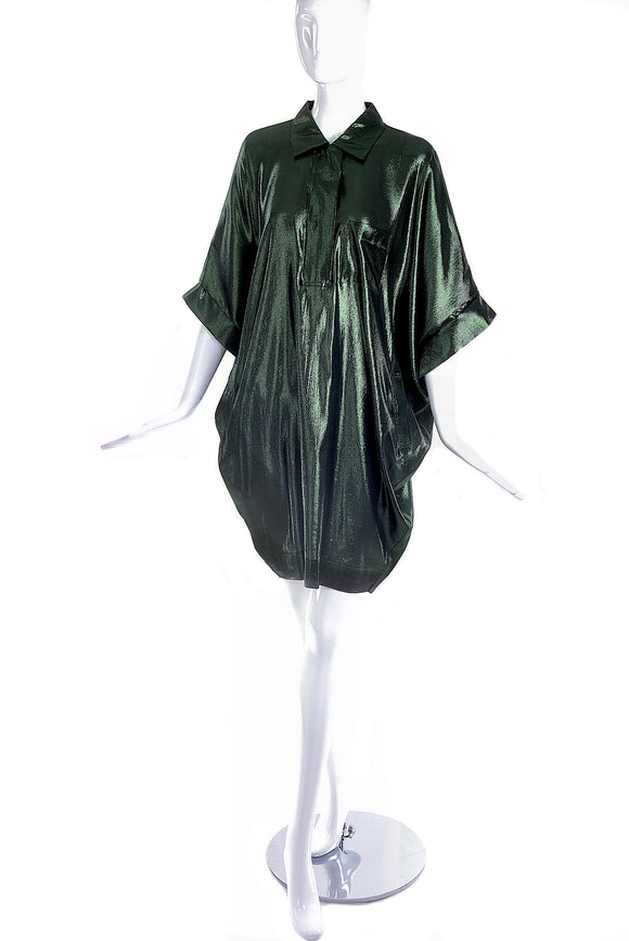 Lanvin Metallic Green Cocoon Shirt Dress - BOUTIQUE PURCHASE PRICE