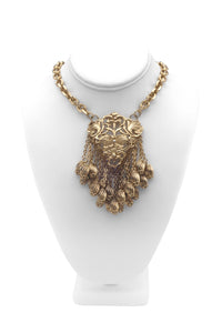 Pauline Trigère Necklace on a Gold Chain with Gold Floral Pendent and Chain Charm Fringe