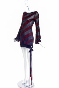 Alexander McQueen Sheer Mini Dress with Red Lurex Stripes