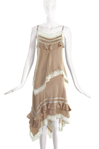 John Galliano Beige Tan Negligee Style Top and Skirt Set - BOUTIQUE PURCHASE PRICE