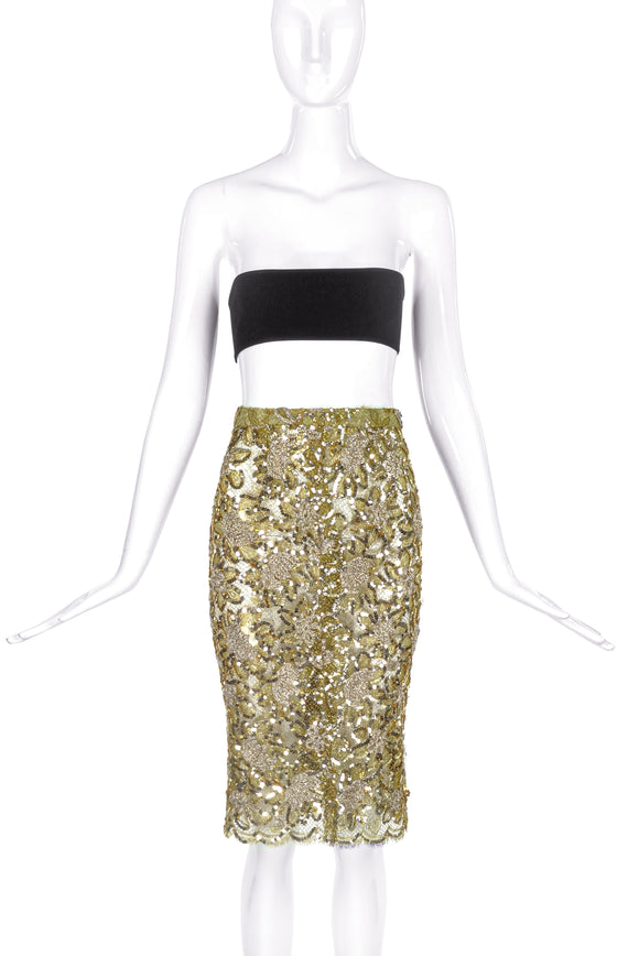 Vicky Tiel Luxurious Gold Lace Floral Skirt with Sequin Details - BOUTIQUE PURCHASE PRICE