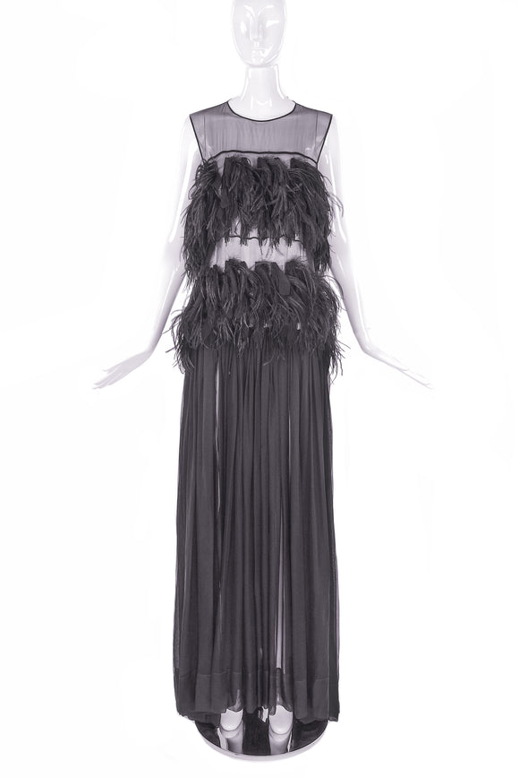 Vionnet Chiffon Feather Gown