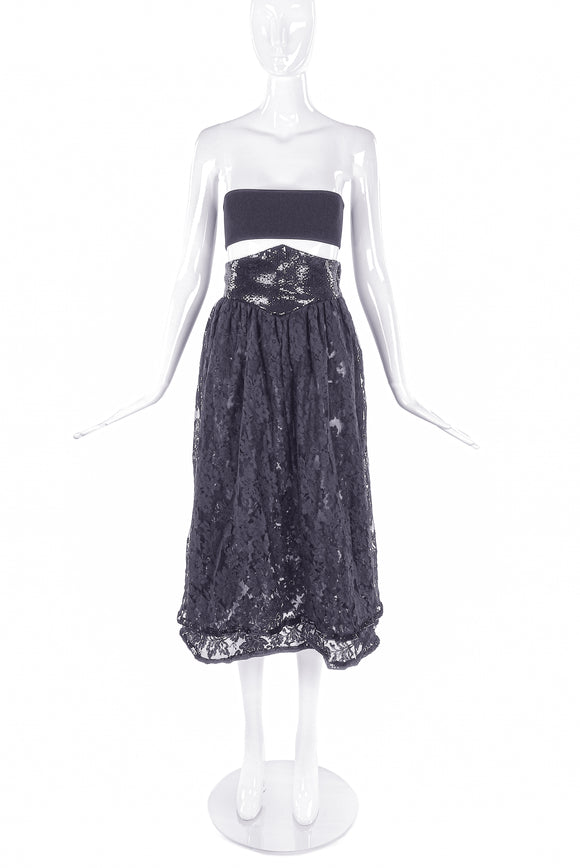 Valentino Night Black Lace Skirt with Black Sequin Corset Belt