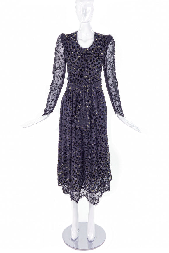 Valentino Night Black Chiffon Evening Dress with Gold Lurex Dots - BOUTIQUE PURCHASE PRICE