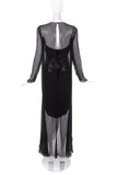 Chanel Black Chiffon Drape Gown with a Patent Leather Corset