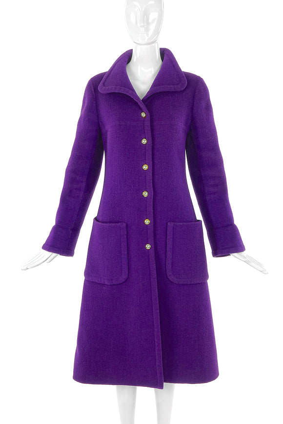 Mila Schön Purple Wool Felt Coat circa 1960's - BOUTIQUE PURCHASE PRICE