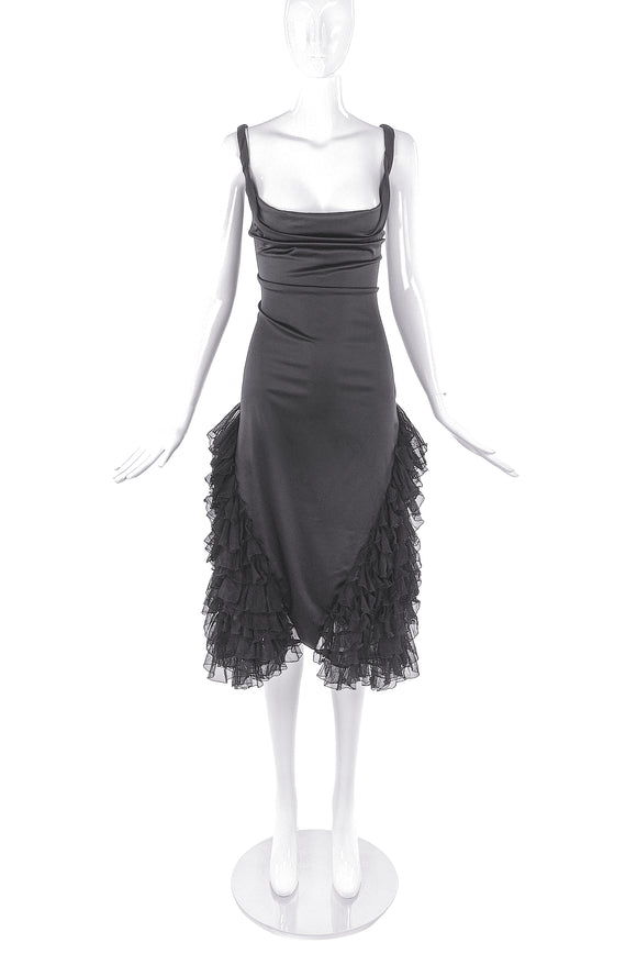 Alexander McQueen Black Satin Dress with Lace Ruffle Details