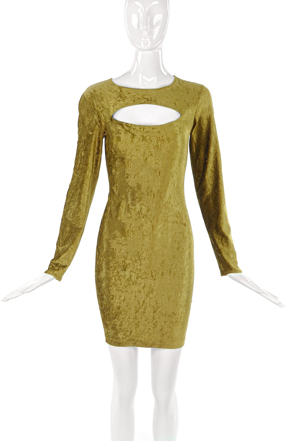 Norma Kamali Golden Yellow Velvet Mini Dress - BOUTIQUE PURCHASE PRICE