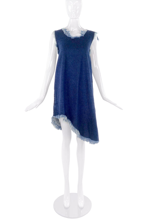 Marques Almeida Blue Denim Shift Dress with Fray Edges - BOUTIQUE PURCHASE PRICE