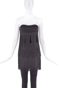 Valentino Night Black Velvet with Fringe Strapless Pant Set