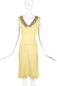 Miu Miu Yellow Top and Skirt Set with Embellishment SS2004 - BOUTIQUE PURCHASE PRICE