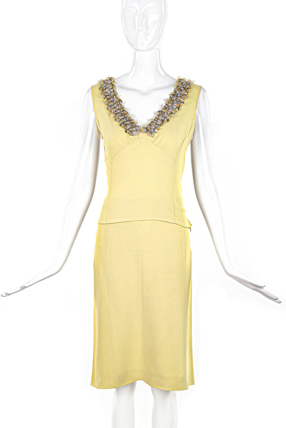 Miu Miu Yellow Top and Skirt Set with Embroidery