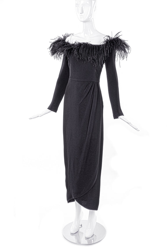 Valentino Night Black Cocktail Dress with Feather Neckline