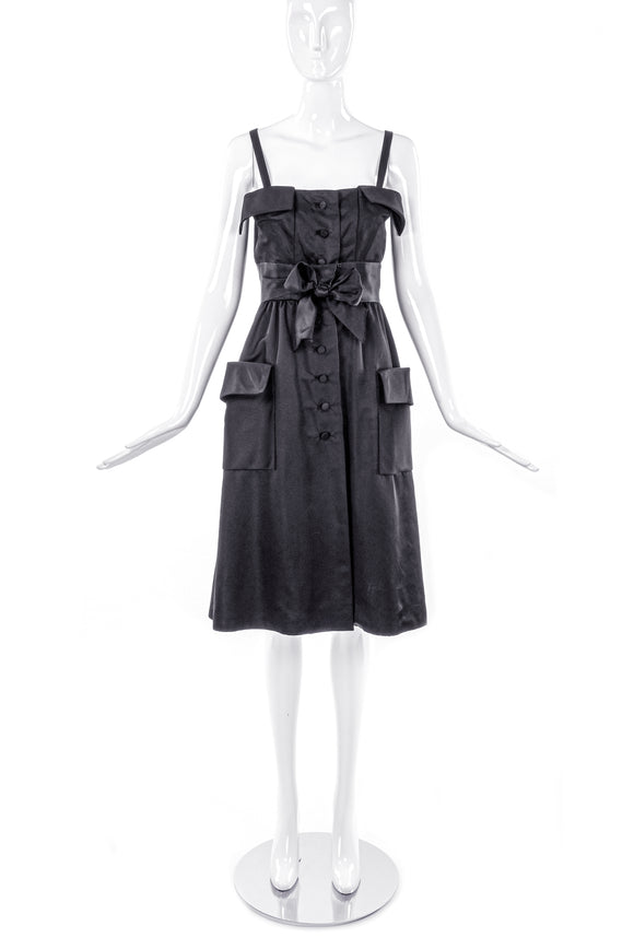 Geoffrey Beene 50's Satin Dress with Pockets, Bow and Flap at Neckline