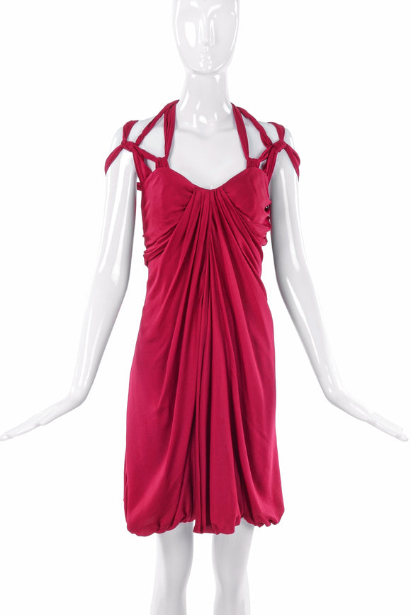 Vionnet Red Grecian Drape Multi Strap Harness Dress - BOUTIQUE PURCHASE PRICE