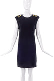 Neil Barrett Black Sweater Dress with Epaulet Shoulder Details - BOUTIQUE PURCHASE PRICE
