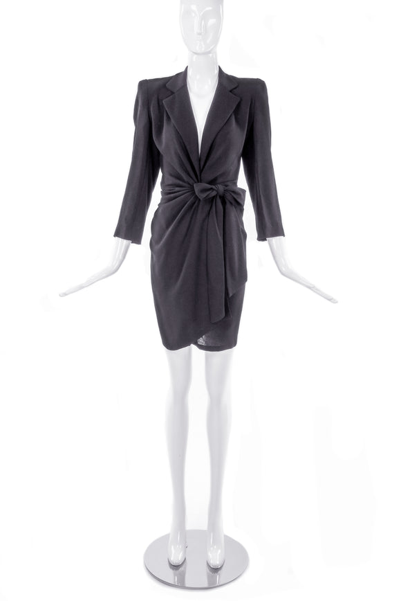 Donna Karan Black Jersey Tuxedo Jacket Wrap Mini Dress