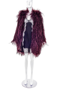 Vintage Burgundy Ostrich Feather Jacket