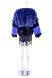 Vintage Blue and Black Graphic Faux Fur Jacket
