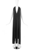 Stephen Burrows Black Backless Halter Neck Gown with Bow