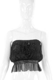Vicky Tiel Black Chiffon Strapless Beaded Top and Skirt - BOUTIQUE PURCHASE PRICE