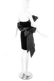 Givenchy Nouvelle Black Velvet Cocktail Dress with a Silk Taffeta Ruffle and Bow Details