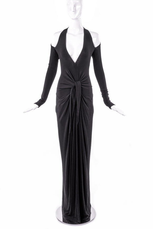 Donna Karan Black BodyCon Gown with Cut-Out Shoulders