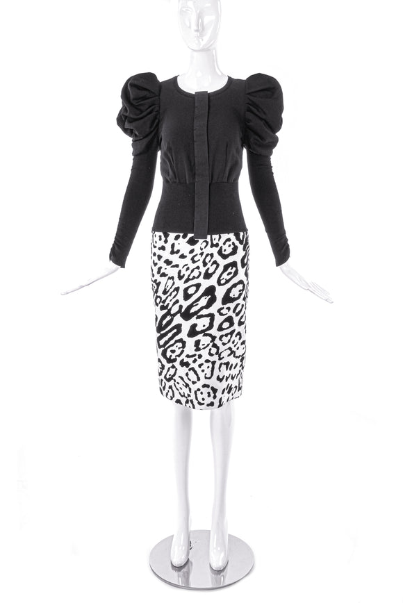 Dolce & Gabbana Puff Sleeve Cardigan and Animal Print Pencil Skirt