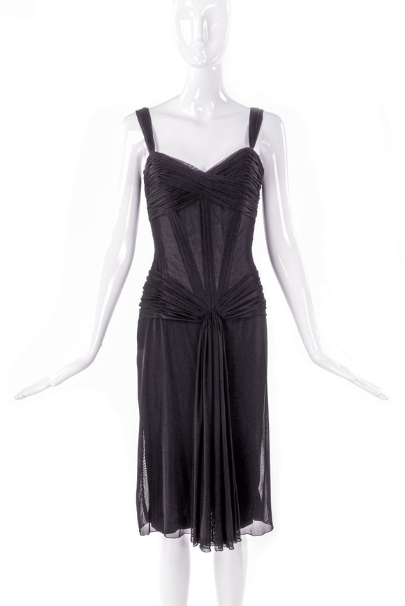 Vicky Tiel Black Chiffon Ruched Corset Pretty Woman Cocktail Dress - BOUTIQUE PURCHASE PRICE