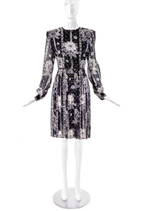 André Laug Black and White Chiffon Floral Print Day Dress