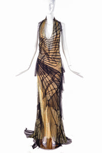 "Roberto Cavalli Yellow with Black Tulle ""Courtney Love"" Gown"