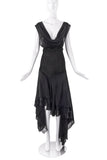 Antonio Berardi Black Chiffon Hankerchief Hem Dress
