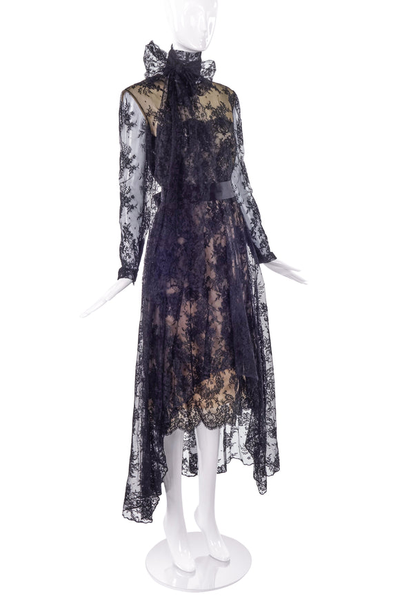 Bill Blass Couture Lace Dress with Nude Bodice and Neck Bow