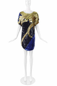 Pepper Pistol Gold and Blue Sequin Shirt Dress